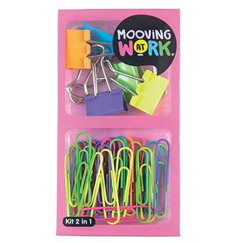 Set 2 en 1 Mooving At Work Clips + Binder Clips (Pink)